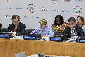 "Deputy Secretary-General Amina Mohammed (center) addresses a special event on ""Local and Regional Governments' Forum"" during the 2018 High-Level Political Forum on Sustainable Development."